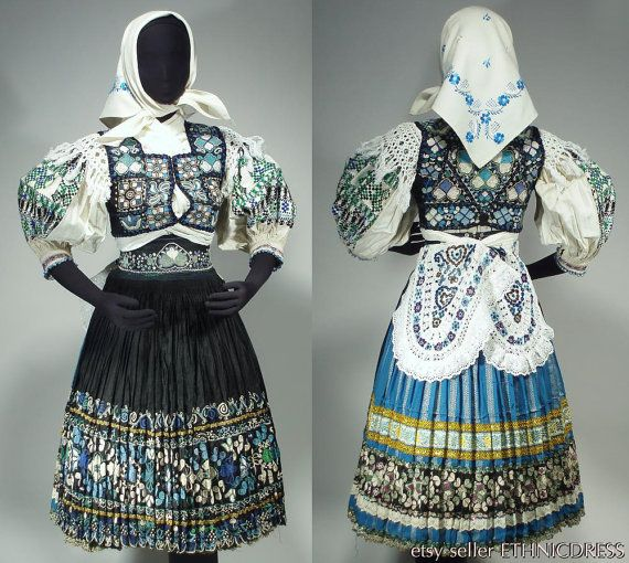 RARE Complete Woman's Slovak Folk Costume from Abelova - heavily embroidered vest skirt apron shawl belt kerchief blouse | ethnic peasant