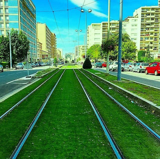 Il s'agit d'une photo prise le 20 septembre 2015 dans le quartier de Bergson à Saint-Etienne. Elle illustre totalement la notion de développement durable : on y voit les lignes de tramways (incontournables dans la ville verte qu'est Saint-Etienne) s'étendre jusqu'à perte de vue.