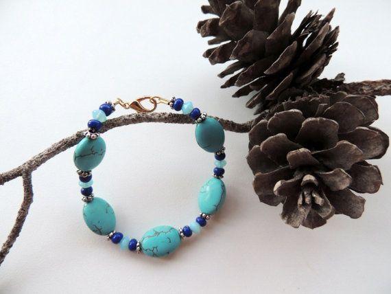 blue agate braceletblue braceletblue by Homeforglasslovers on Etsy, $22.00