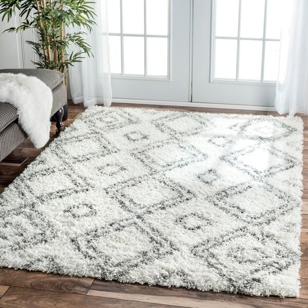 Exceptional NuLOOM Alexa My Soft And Plush Moroccan Trellis White/ Grey Easy Shag Rug (8