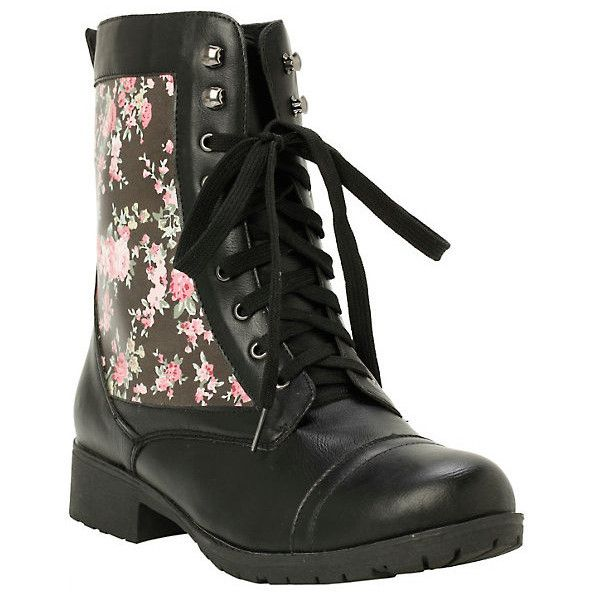 Black Floral Combat Boots Hot Topic (42 CAD) ❤ liked on Polyvore featuring shoes, boots, black army boots, combat booties, black military boots, floral print shoes and floral boots