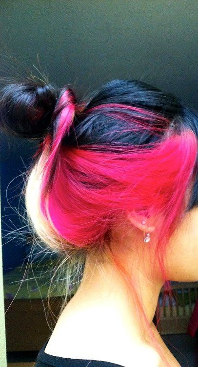 colorful hair style just flipped w/ dark on bottom and natural blonde up top??! :)