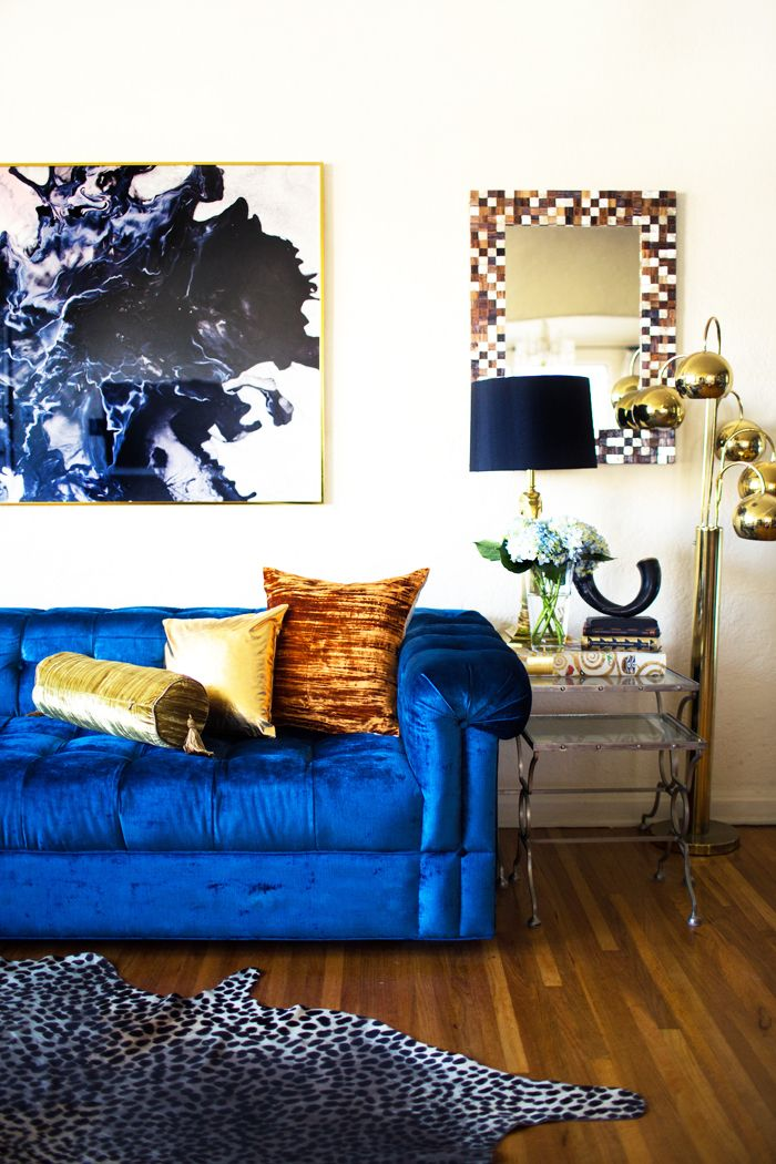 15 Colorful Reasons To Break From The Neutral Sofa. Blue Velvet CouchRoyal  ...