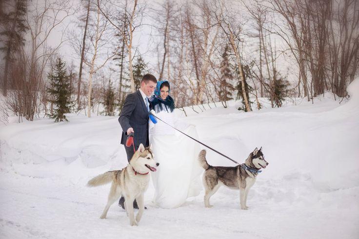Norilsk siberia - Pretty couple with huskys in the snow www.norilskliveandlove.com