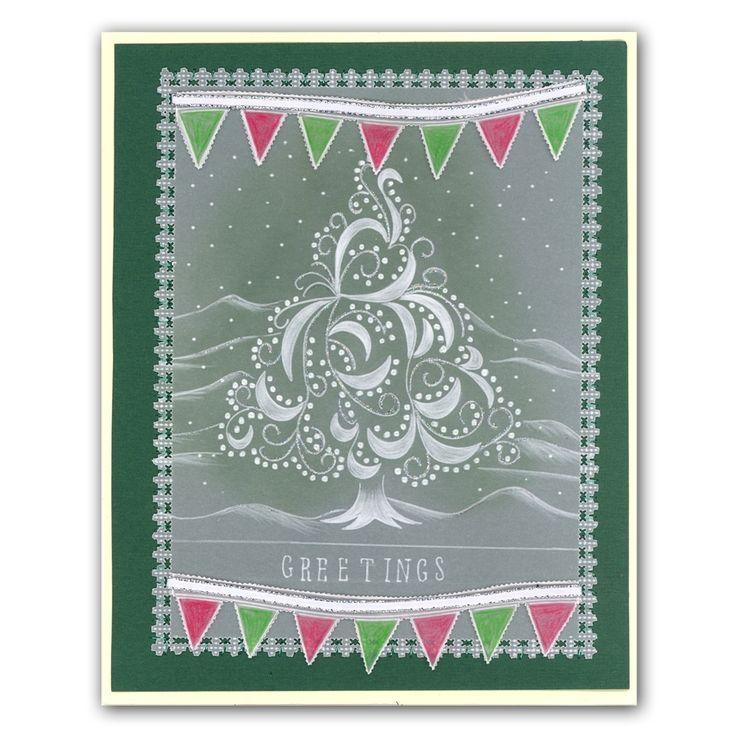 Christmas Tree Swirl with Bunting Wave Groovi Card created by Sylvia Marshall
