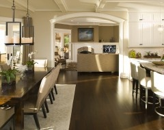colors, dark floor, lighter wall, with one wall light tan colored
