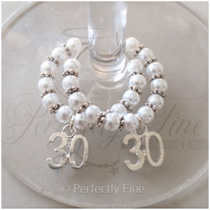 30th Pearl Wedding Anniversary Wine Glass Charms. 30th Wedding Anniversary. Pearl Wedding. 30 years. - pinned by pin4etsy.com