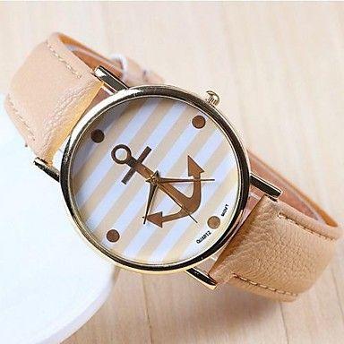 l'ancrage de la mode des femmes en or rose cadran PU bande de montre-bracelet à quartz analogique (couleurs assorties) – EUR € 6.71