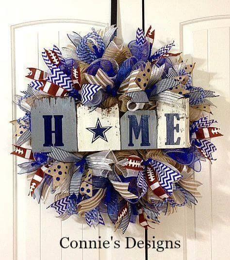 """Home"" Dallas Cowboys Wreath by Connie's Designs"
