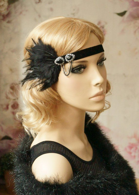 79ab2e76eddeac Gatsby Band of 20 's silver black opulent party hair jewelry with ...