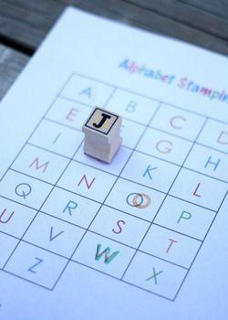 Free printable alphabet stamping sheet.