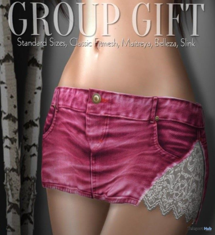 Pink Denim Lace Skirt Group Gift by Just Because - Teleport Hub - teleporthub.com