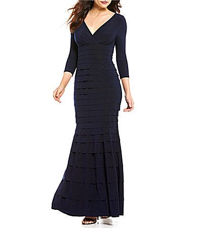 Kay Unger Tiered VNeck 34 Sleeve Banded Jersey Gown #Dillards