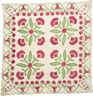 Appliqued Coxcomb flower variaent quilt, possibly Pennsylvania, dated 1859. 78x81 in. Sold 2014 $4750