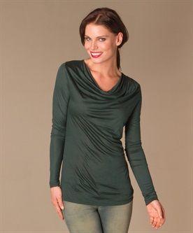 Armani Jeans Gedrapeerde Top - Groen - Armani Jeans online | Premium Dames Basics