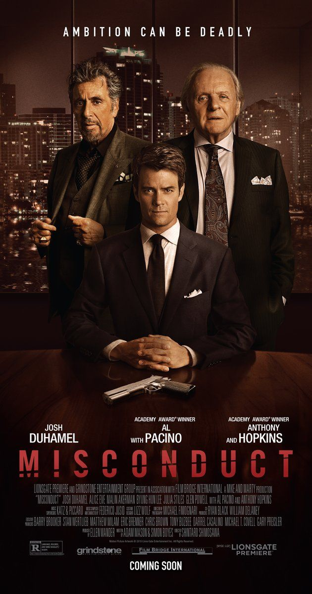 "Directed by Shintaro Shimosawa.  With Josh Duhamel, Anthony Hopkins, Al Pacino, Alice Eve. When an ambitious young lawyer takes on a big case against a powerful and ruthless executive of a large pharmaceutical company, he soon finds himself involved in a case of blackmail and corruption. ""Solid story, but execution was a little uneven and it took me a while to get into  it. Overall, entertaining mystery/suspense/thriller."""