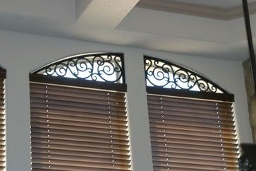 Portfolio - Mediterranean - Window Treatments - Austin - Blind Faith LLC  love that iron work for the arch window