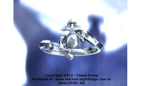 Beautiful Gold Marine Corps Ring for the Ladies