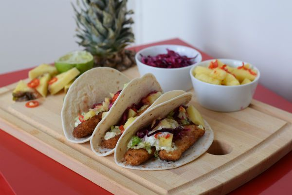 Vegan or vegetarian tacos with beer battered panko halloumi/tofu, jalapeño mayo, pineapple salsa and pickled cabbage