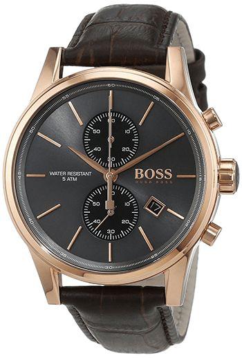 Montre Hugo Boss Jet Homme - 1513283 - Quartz - Analogique - Cadran en Acier inoxydable Or - Bracelet en Cuir Marron - Date - Etanche 5 bars