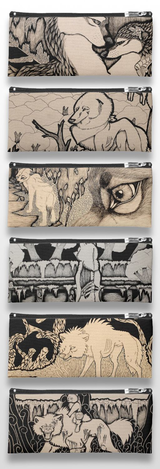 Black and White Illustrated Wolf Pencil Cases #products #gifts #art #illustration #drawing #sepia
