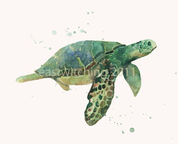 Swim away with the #seaturtles as you bathe! This is one of my #nautical watercolors for the #bathroom and will really set the tone for an appealing ocean look! $18.00 for this archival #animalart print