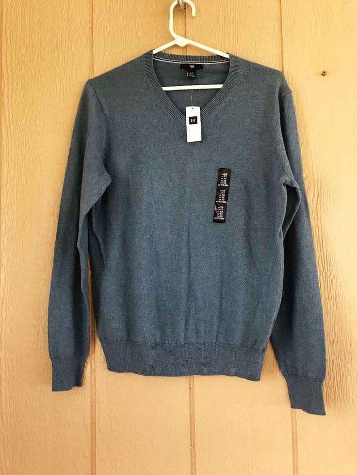 Gap Men's Sweater V-Neck Long Sleeve Light Weight Nwt Size XS Light Blue Heather #GAP #VNeck