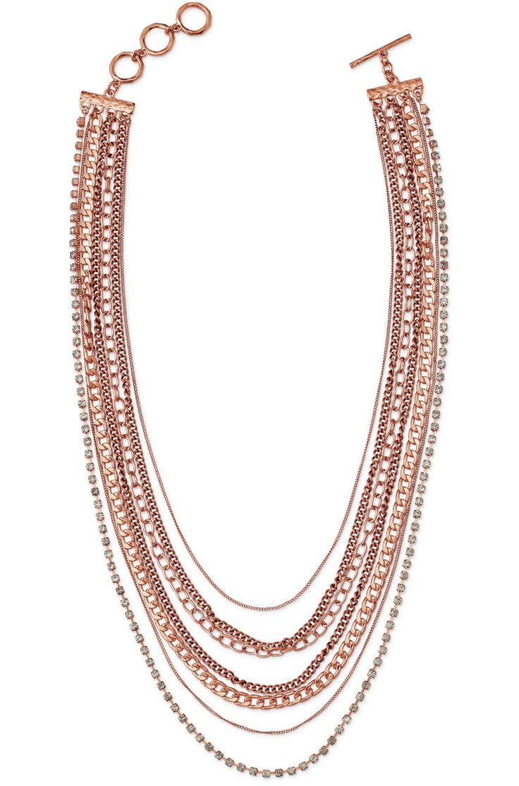 Metal & Rose Gold Multi Chain Necklace | Ginger Layering Necklace