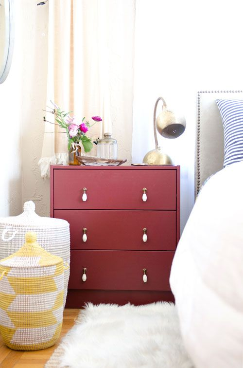 The RAST dresser from IKEA, finished with paint and hardware and featured on the blog, Design Sponge.