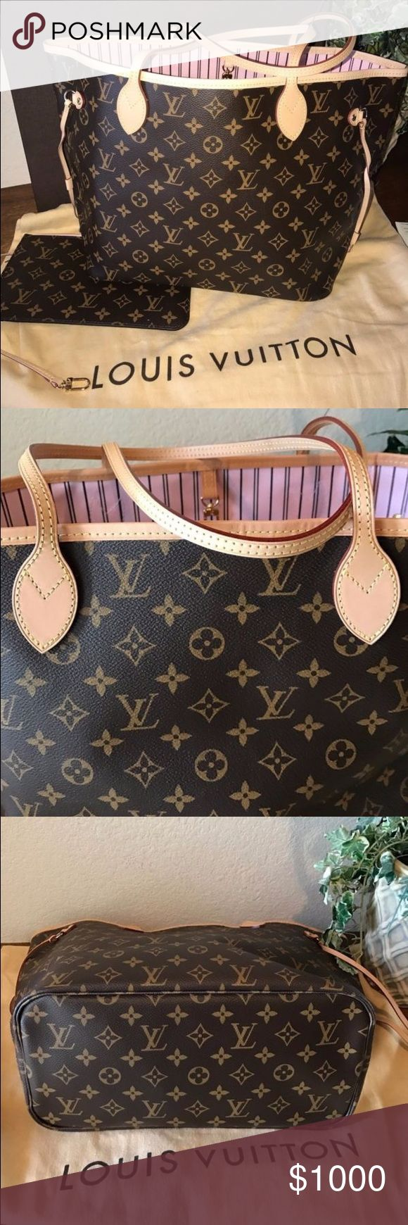 Louie Vuitton never full AUTHENTIC LOUIS VUITTON ROSE BALLERINE NEVERFULL MM BRAND NEW Louis Vuitton Bags Totes