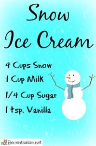 If you are snowed in today, here is a snow ice cream recipe to help you entertain the kids.