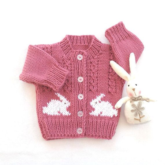 Baby cardigan with bunnies  6 to 12 months  Baby girl knits