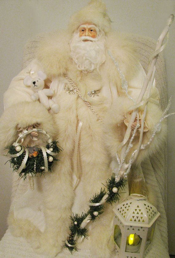 CUSTOM ORDER Father Christmas Doll: Winter White Ivory, Rhinestones and Vintage White Fox Fur (One of a Kind Handmade Old World Santa Claus). $325.00, via Etsy.