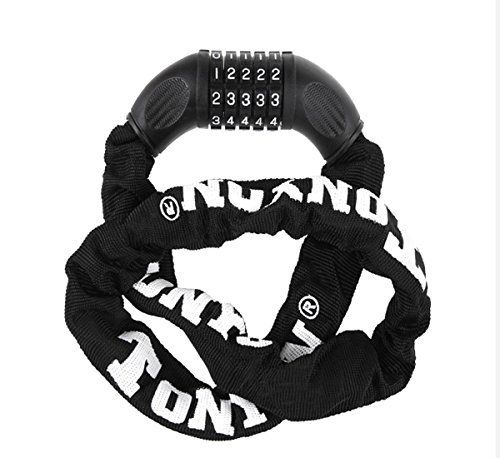 Product review for Bike Lock,OUTERDO Bicycle Combination Cable Lock 5-Digit Self Coiling Security Anti-theft Cycling Chain Lock for Bike, Motorcycle, Bicycle, Door, Gate, Fence, Grill 3.2ft - Specification: Material: high quality steel chain, copper, PVC, ABS engineering plastics Specifications: diameter: 6mm length :900mm Color: Black Weight: 800g Characteristic£º -No key, 5 password security firm, easy to replace the password. -High manganese steel chain, strong rust. Po