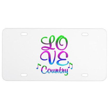 #LOVE Country Music License Plate - #country gifts style diy gift ideas
