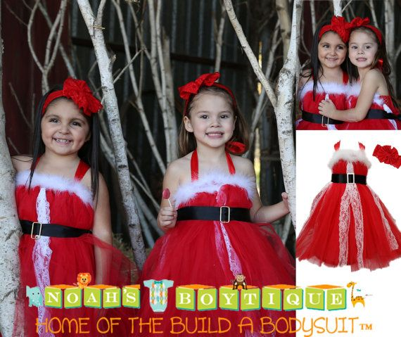 Christmas Outfits for Girls - Santa Dress - Red Tutu Dress - White Lace - Baby Girls - Toddler - Christmas Outfit - Christmas Card Picture by Noah's Boytique