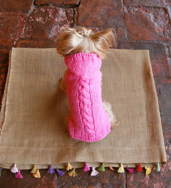 Cable-Knit  Hoodie / Pure Wool / Pink /Pet Fashion by CasaLunaCo