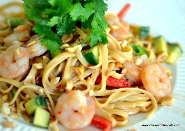 Spicy Peanut Noodles with Shrimp  - Delicious and easy, from Chew Nibble Nosh