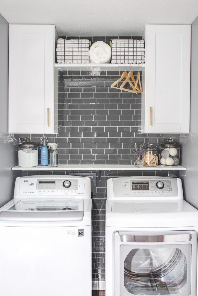 Laundry Room Refresh With Peel And Stick Backsplash Wall Tile Small Laundry Room Makeover Laundry Room Update Laundry Room Makeover