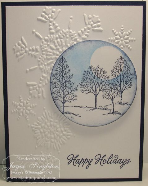 handmade Christmas card ... embossing folder snowflake grouping ... circle with Lovely as a Tree snow y scene ... simply beautiful ... Stampin'Up!