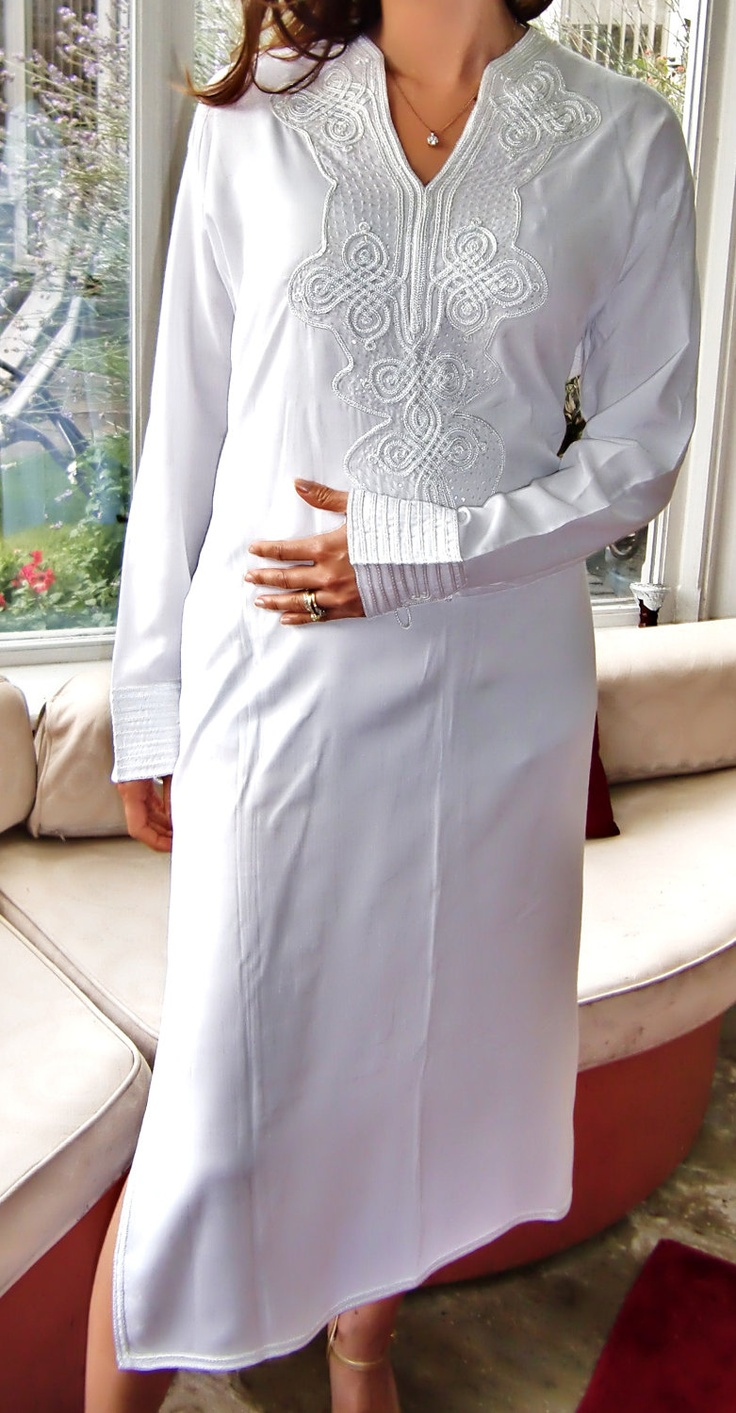 White Moroccan Caftan Dress (Long) - Bedouin Style. $69.00, via Etsy.