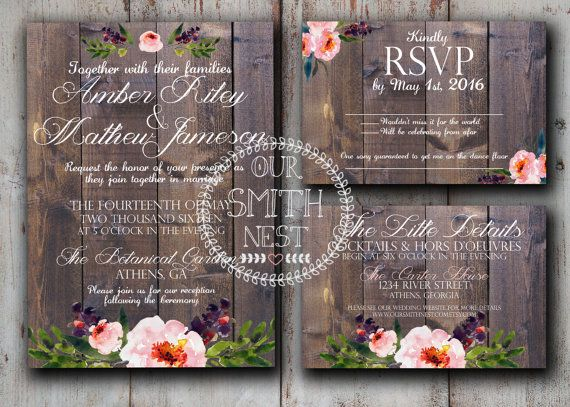 Rustic Peonies Wedding Invitation DIY PRINTABLE Customizable Digital Prints Wood Floral Rustic Vintage Classic Wedding Invitation Suite