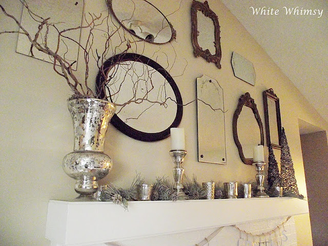 Wall deco w/ mirrorsVintage Mirrors, Decor Ideas, Wall Deco, White Whimsy, Mantels 2011, Christmas Mantels