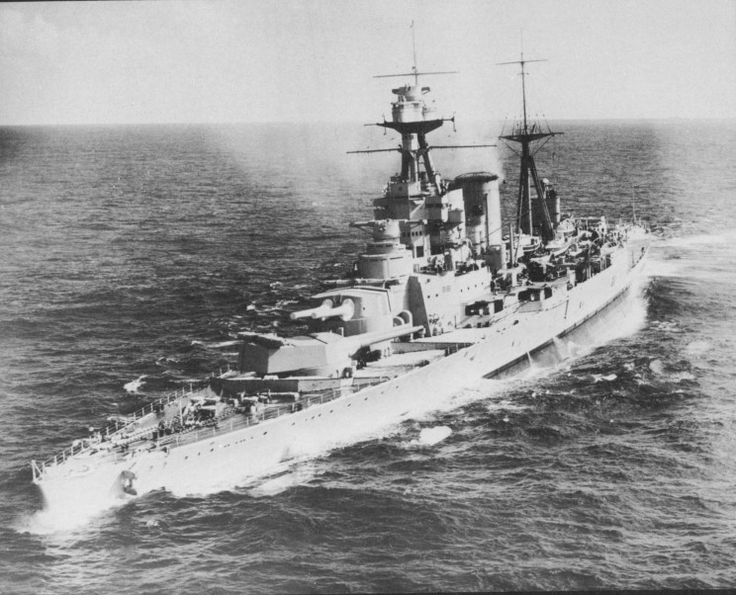 15 in HMS Hood in the Mediterranean, 1937 - the Royal Navy's biggest and last battlecruiser was nearing completion at the time of Jutland in 1916, when 3 were lost. No more were laid down thereafter, and some additional protection was worked into her, but she was fatally vulnerable against the modern Bismarck in May 1941. Only 3 of her crew survived.