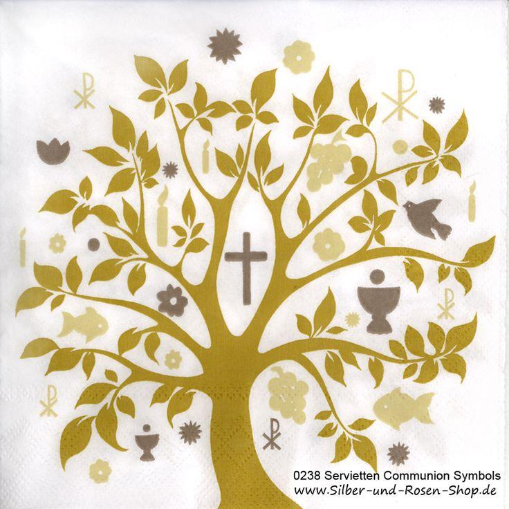 20 Papierservietten Baum Communion Symbols gold