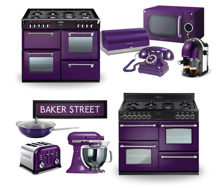 Purple kitchen appliance ideas. Items include purple Stoves and Belling range cookers, purple toasters, mixers, microwaves and even telephones!