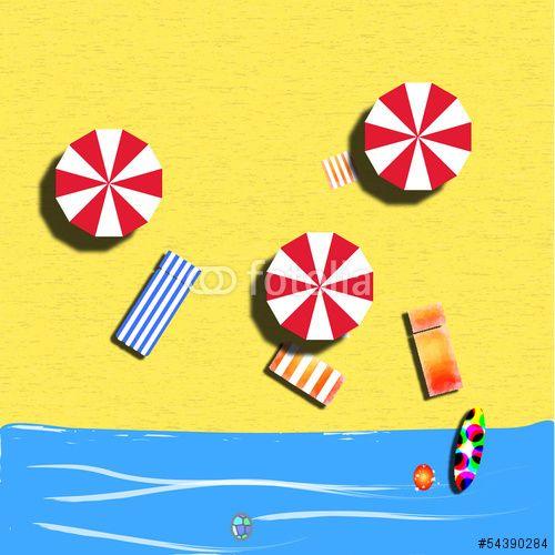 Vettoriale: Spiaggia con ombrelloni