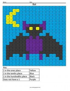 """Decimal, Percent and Fractions color by """"number"""" worksheets"""