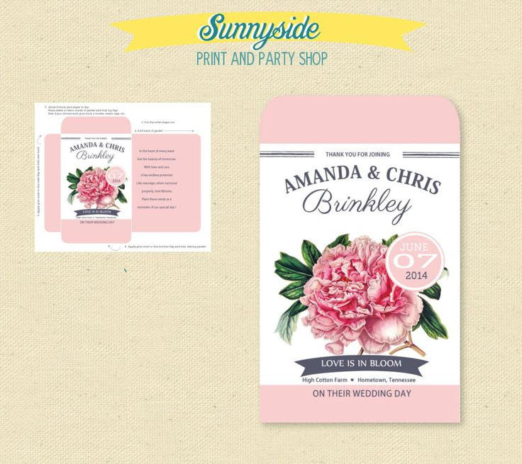Printable Pink Peony Seed Packet Favor - DIY - Bri…