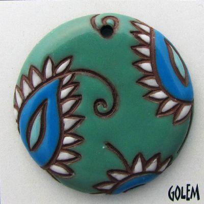 Handmade Ceramic Pendant--Paisley, large round, Jade & Blue/terracotta